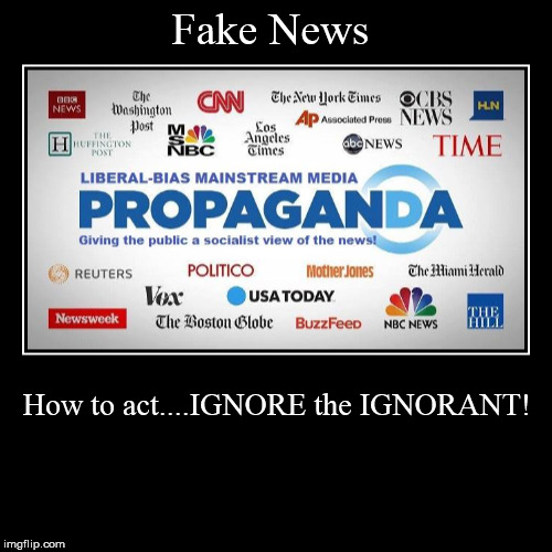 Fake News | How to act....IGNORE the IGNORANT! | image tagged in funny,demotivationals | made w/ Imgflip demotivational maker