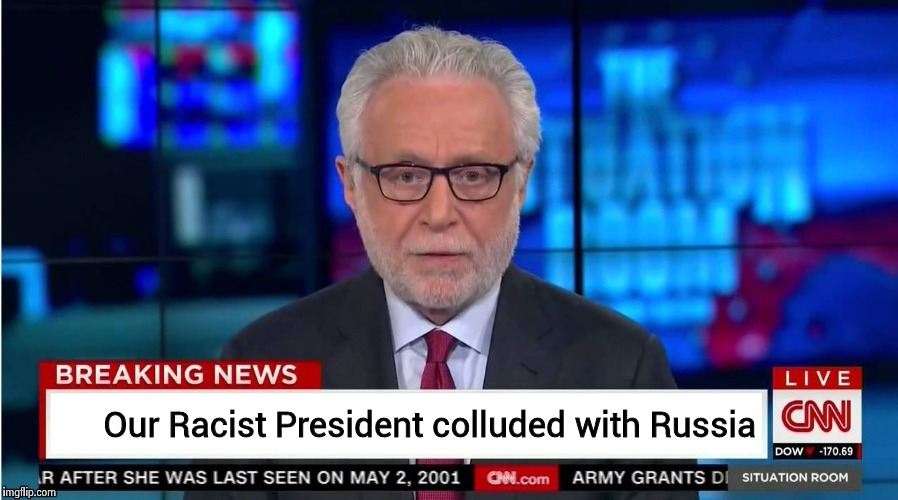 Our Racist President colluded with Russia | image tagged in corporate stooge | made w/ Imgflip meme maker