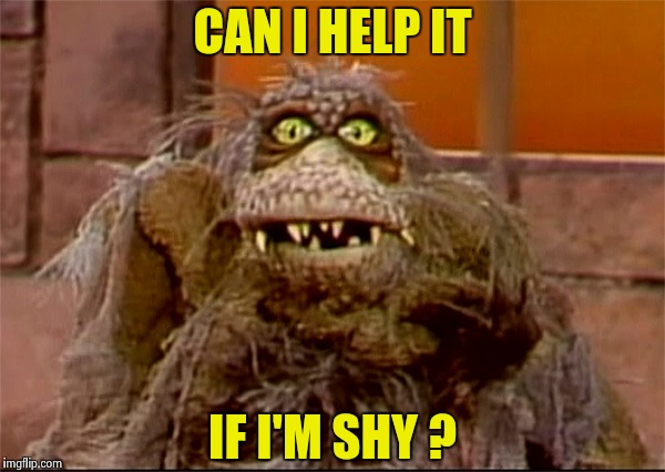 Scred | CAN I HELP IT IF I'M SHY ? | image tagged in scred | made w/ Imgflip meme maker