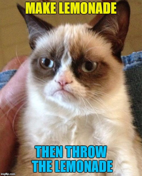 Grumpy Cat Meme | MAKE LEMONADE THEN THROW THE LEMONADE | image tagged in memes,grumpy cat | made w/ Imgflip meme maker