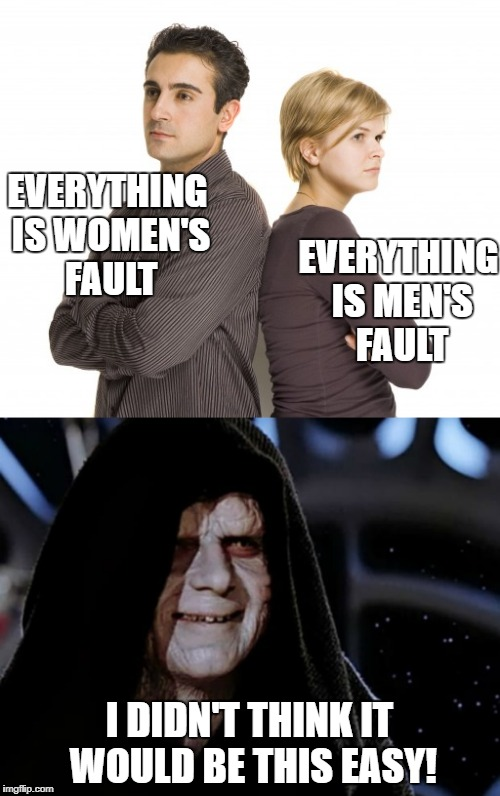 Divide and conquer is always the easiest manipulation tactic | EVERYTHING IS WOMEN'S FAULT I DIDN'T THINK IT WOULD BE THIS EASY! EVERYTHING IS MEN'S FAULT | image tagged in stupid,brainwash,men,women,divide | made w/ Imgflip meme maker