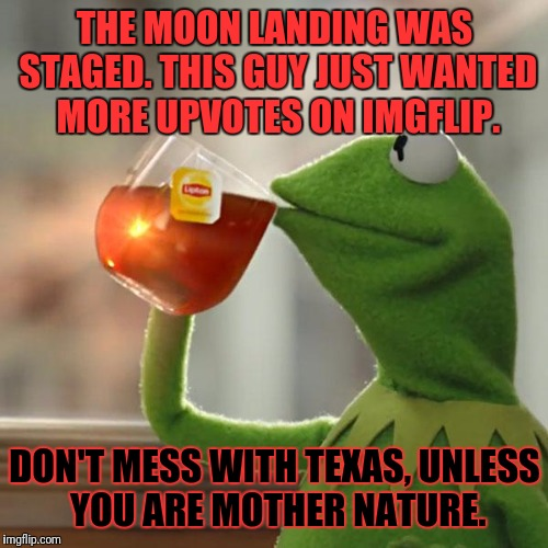 But Thats None Of My Business Meme | THE MOON LANDING WAS STAGED. THIS GUY JUST WANTED MORE UPVOTES ON IMGFLIP. DON'T MESS WITH TEXAS, UNLESS YOU ARE MOTHER NATURE. | image tagged in memes,but thats none of my business,kermit the frog | made w/ Imgflip meme maker