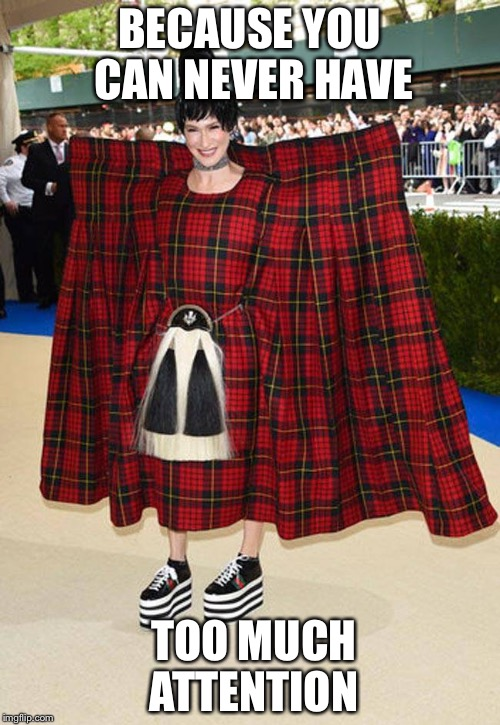 Super Kilt Saves The Day | BECAUSE YOU CAN NEVER HAVE TOO MUCH ATTENTION | image tagged in kilt,met gala,silly | made w/ Imgflip meme maker