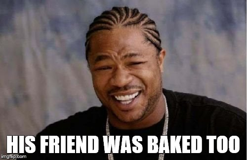 Yo Dawg Heard You Meme | HIS FRIEND WAS BAKED TOO | image tagged in memes,yo dawg heard you | made w/ Imgflip meme maker