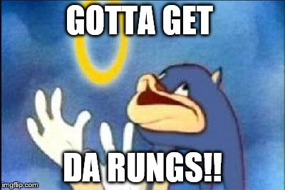 Sonic derp | GOTTA GET DA RUNGS!! | image tagged in sonic derp | made w/ Imgflip meme maker
