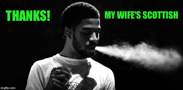 THANKS! MY WIFE'S SCOTTISH | image tagged in kid cudi | made w/ Imgflip meme maker