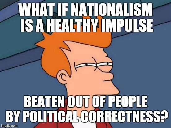 Or are you too PC to even let yourself really think about it? :D | WHAT IF NATIONALISM IS A HEALTHY IMPULSE BEATEN OUT OF PEOPLE BY POLITICAL CORRECTNESS? | image tagged in funny,futurama fry,politics,humor,memes,alt right | made w/ Imgflip meme maker