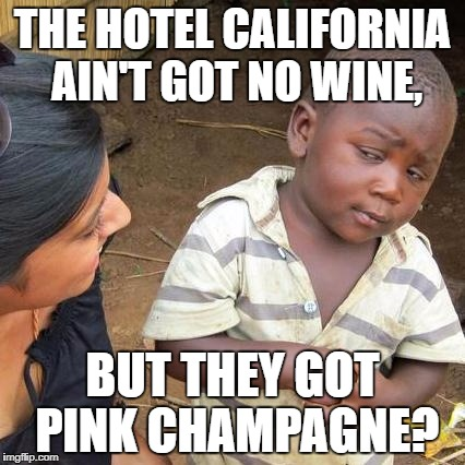 Third World Skeptical Kid Meme | THE HOTEL CALIFORNIA AIN'T GOT NO WINE, BUT THEY GOT PINK CHAMPAGNE? | image tagged in memes,third world skeptical kid | made w/ Imgflip meme maker