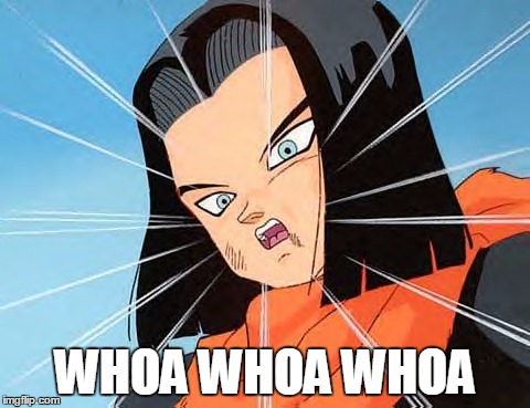 When somebody takes your joke too seriously: | WHOA WHOA WHOA | image tagged in android 17 whoa,dragon ball,memes | made w/ Imgflip meme maker