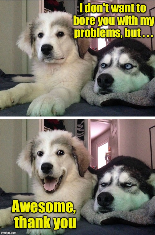 What are friends for | I don't want to bore you with my problems, but . . . Awesome, thank you | image tagged in two huskies,memes,friends | made w/ Imgflip meme maker