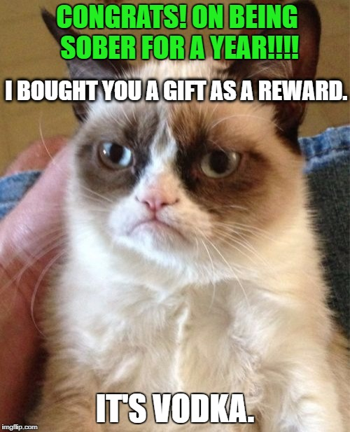 Grumpy Cat Meme | CONGRATS! ON BEING SOBER FOR A YEAR!!!! IT'S VODKA. I BOUGHT YOU A GIFT AS A REWARD. | image tagged in memes,grumpy cat | made w/ Imgflip meme maker