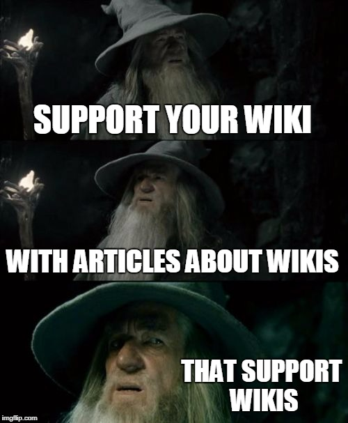 Gandalf's Wiki | SUPPORT YOUR WIKI WITH ARTICLES ABOUT WIKIS THAT SUPPORT WIKIS | image tagged in memes,confused gandalf,wiki | made w/ Imgflip meme maker