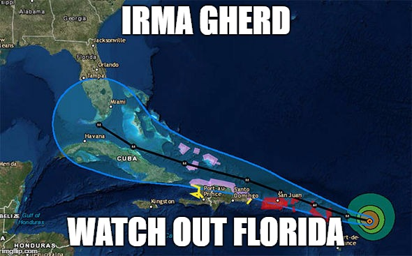 Hurricane Irma  | IRMA GHERD WATCH OUT FLORIDA | image tagged in hurricane irma,hurricane | made w/ Imgflip meme maker