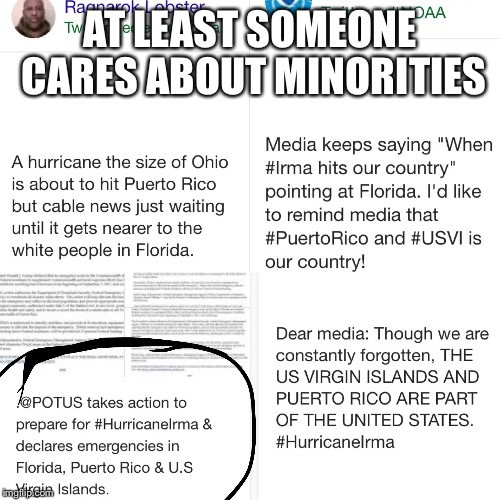 But, he's a Nazi.  | AT LEAST SOMEONE CARES ABOUT MINORITIES | image tagged in donald trump,hurricane irma,fake news,liberal media | made w/ Imgflip meme maker