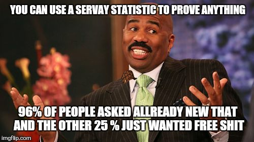 Steve Harvey Meme | YOU CAN USE A SERVAY STATISTIC TO PROVE ANYTHING 96% OF PEOPLE ASKED ALLREADY NEW THAT AND THE OTHER 25 % JUST WANTED FREE SHIT | image tagged in memes,steve harvey,scumbag | made w/ Imgflip meme maker