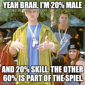 Wanna be rapper | YEAH BRAH. I'M 20% MALE AND 20% SKILL. THE OTHER 60% IS PART OF THE SPIEL. | image tagged in wanna be rapper | made w/ Imgflip meme maker