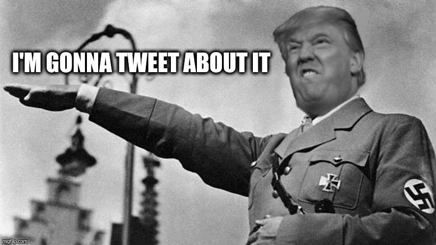 Donald Trump Hitler | I'M GONNA TWEET ABOUT IT | image tagged in donald trump hitler | made w/ Imgflip meme maker