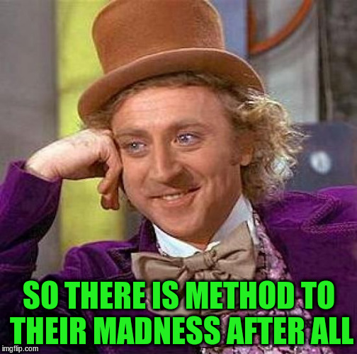 Creepy Condescending Wonka Meme | SO THERE IS METHOD TO THEIR MADNESS AFTER ALL | image tagged in memes,creepy condescending wonka | made w/ Imgflip meme maker