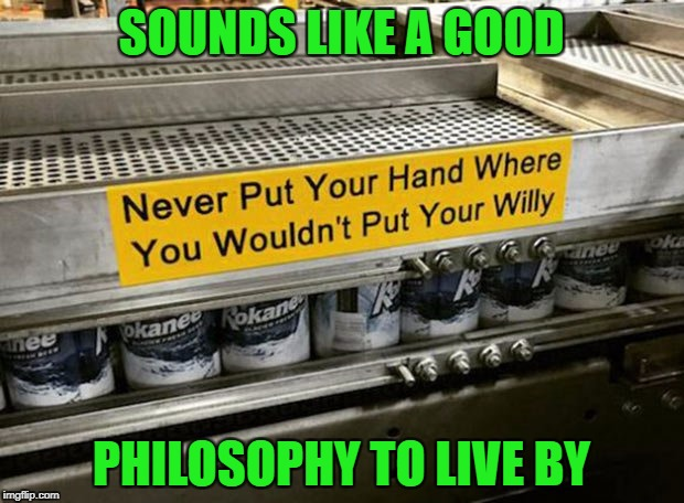 Don't want to lose my hands....or my willy! | SOUNDS LIKE A GOOD PHILOSOPHY TO LIVE BY | image tagged in good advice,memes,signs,funny signs,funny,good philosophy | made w/ Imgflip meme maker