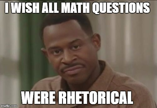 Math | I WISH ALL MATH QUESTIONS WERE RHETORICAL | image tagged in math | made w/ Imgflip meme maker
