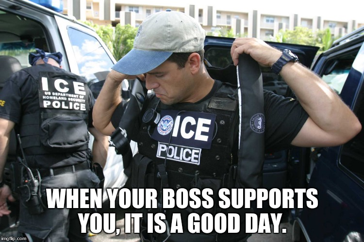 WHEN YOUR BOSS SUPPORTS YOU, IT IS A GOOD DAY. | image tagged in illegal immigration | made w/ Imgflip meme maker