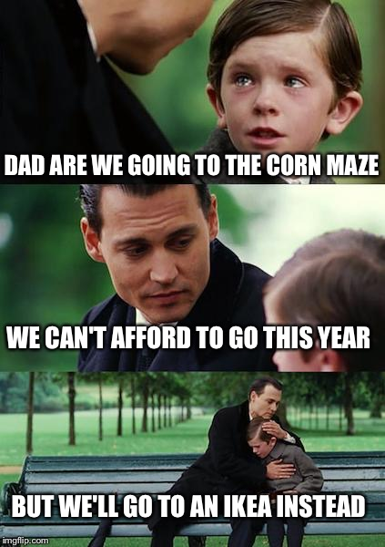 It's kind of the same thing  | DAD ARE WE GOING TO THE CORN MAZE WE CAN'T AFFORD TO GO THIS YEAR BUT WE'LL GO TO AN IKEA INSTEAD | image tagged in memes,finding neverland | made w/ Imgflip meme maker