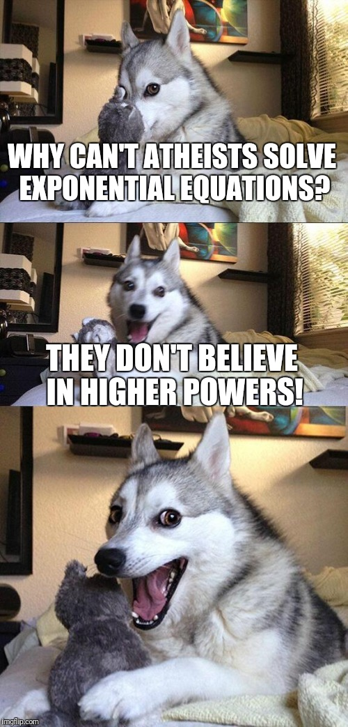 Bad Pun Dog Meme | WHY CAN'T ATHEISTS SOLVE EXPONENTIAL EQUATIONS? THEY DON'T BELIEVE IN HIGHER POWERS! | image tagged in memes,bad pun dog | made w/ Imgflip meme maker