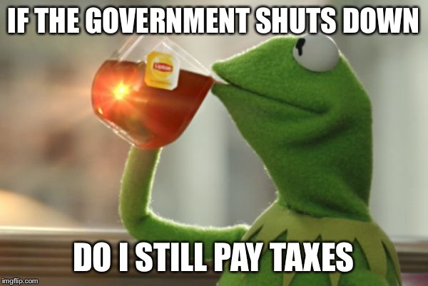 IF THE GOVERNMENT SHUTS DOWN DO I STILL PAY TAXES | image tagged in kermit questions | made w/ Imgflip meme maker