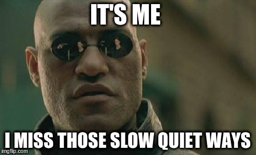 Matrix Morpheus Meme | IT'S ME I MISS THOSE SLOW QUIET WAYS | image tagged in memes,matrix morpheus | made w/ Imgflip meme maker
