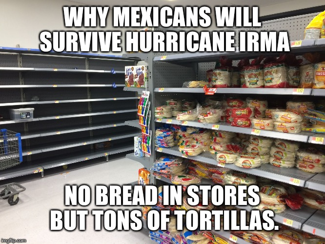 WHY MEXICANS WILL SURVIVE HURRICANE IRMA NO BREAD IN STORES BUT TONS OF TORTILLAS. | image tagged in latinos survive hurricane irma | made w/ Imgflip meme maker