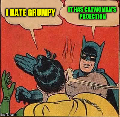 Batman Slapping Robin Meme | I HATE GRUMPY IT HAS CATWOMAN'S PROECTION | image tagged in memes,batman slapping robin | made w/ Imgflip meme maker