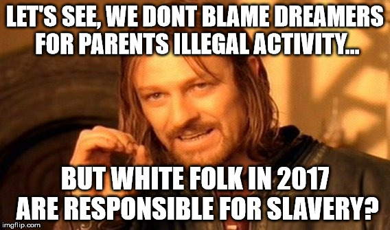 One Does Not Simply Meme | LET'S SEE, WE DONT BLAME DREAMERS FOR PARENTS ILLEGAL ACTIVITY... BUT WHITE FOLK IN 2017 ARE RESPONSIBLE FOR SLAVERY? | image tagged in memes,one does not simply | made w/ Imgflip meme maker