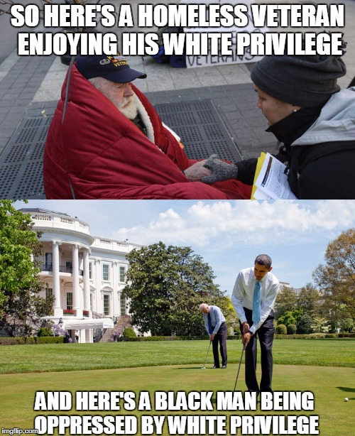 SJWs really think everyone is stupid, don't they? | SO HERE'S A HOMELESS VETERAN ENJOYING HIS WHITE PRIVILEGE AND HERE'S A BLACK MAN BEING OPPRESSED BY WHITE PRIVILEGE | image tagged in sjws | made w/ Imgflip meme maker