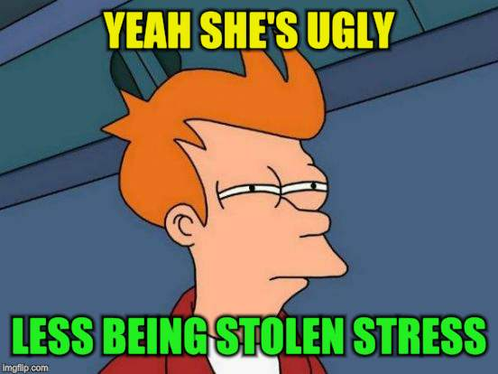 Futurama Fry Meme | YEAH SHE'S UGLY LESS BEING STOLEN STRESS | image tagged in memes,futurama fry | made w/ Imgflip meme maker