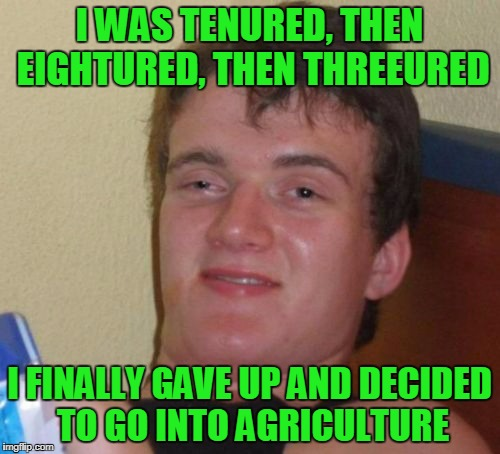 10 Guy Meme | I WAS TENURED, THEN EIGHTURED, THEN THREEURED I FINALLY GAVE UP AND DECIDED TO GO INTO AGRICULTURE | image tagged in memes,10 guy | made w/ Imgflip meme maker
