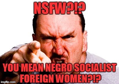 NSFW?!? YOU MEAN NEGRO SOCIALIST FOREIGN WOMEN?!? | made w/ Imgflip meme maker