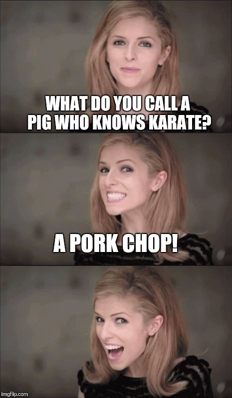 Bad Pun Anna Kendrick | WHAT DO YOU CALL A PIG WHO KNOWS KARATE? A PORK CHOP! | image tagged in memes,bad pun anna kendrick,jbmemegeek,bad pun,anna kendrick,jokes | made w/ Imgflip meme maker