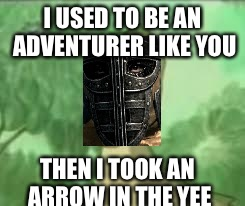 I've always wanted to do this | I USED TO BE AN ADVENTURER LIKE YOU THEN I TOOK AN ARROW IN THE YEE | image tagged in yeeee,arrow to the knee,skyrim,skyrim guard,skyrim guards be like | made w/ Imgflip meme maker
