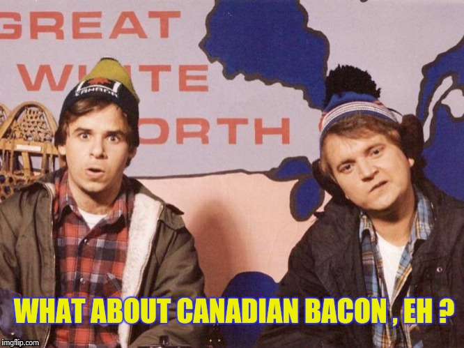 The Great White North | WHAT ABOUT CANADIAN BACON , EH ? | image tagged in the great white north | made w/ Imgflip meme maker