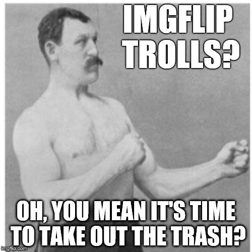Overly Manly Man Clean Up This Place | IMGFLIP TROLLS? OH, YOU MEAN IT'S TIME TO TAKE OUT THE TRASH? | image tagged in memes,overly manly man,trolls,troll smasher | made w/ Imgflip meme maker