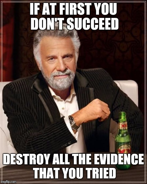 The Most Interesting Man In The World Meme | IF AT FIRST YOU DON'T SUCCEED DESTROY ALL THE EVIDENCE THAT YOU TRIED | image tagged in memes,the most interesting man in the world | made w/ Imgflip meme maker