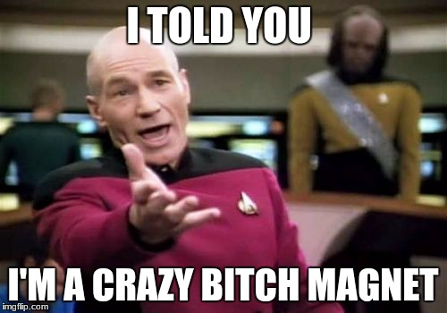 Picard Wtf Meme | I TOLD YOU I'M A CRAZY B**CH MAGNET | image tagged in memes,picard wtf | made w/ Imgflip meme maker