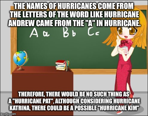 "Anime Teacher | THE NAMES OF HURRICANES COME FROM THE LETTERS OF THE WORD LIKE HURRICANE ANDREW CAME FROM THE ""A"" IN HURRICANE. THEREFORE, THERE WOULD BE NO 