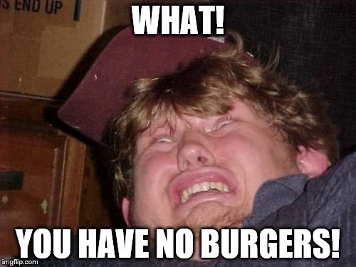WTF |  WHAT! YOU HAVE NO BURGERS! | image tagged in memes,wtf | made w/ Imgflip meme maker