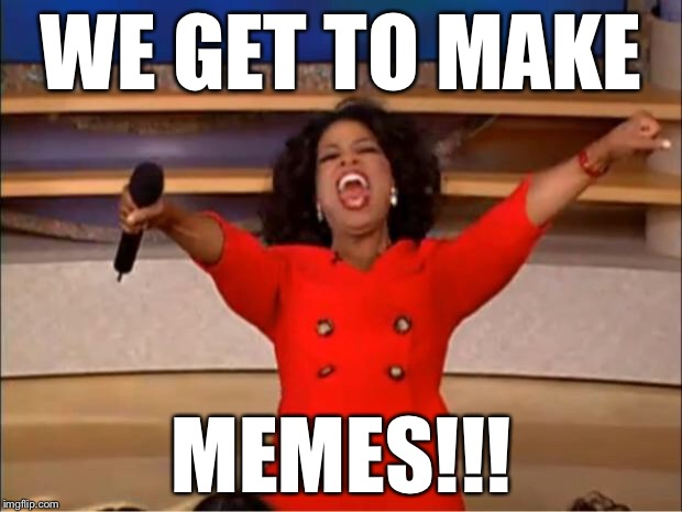 Oprah You Get A Meme | WE GET TO MAKE MEMES!!! | image tagged in memes,oprah you get a | made w/ Imgflip meme maker