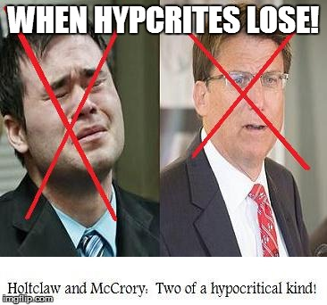 McCrory and Holtzclaw:  Two of a hypocritical kind!   WHEN HYPCRITES LOSE!   image tagged in men in power,hypocrisy,pat mccrory,daniel holtzclaw,oklahoma,north carolina   made w/ Imgflip meme maker