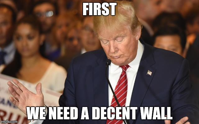 Trump Drops Ball | FIRST WE NEED A DECENT WALL | image tagged in trump drops ball | made w/ Imgflip meme maker