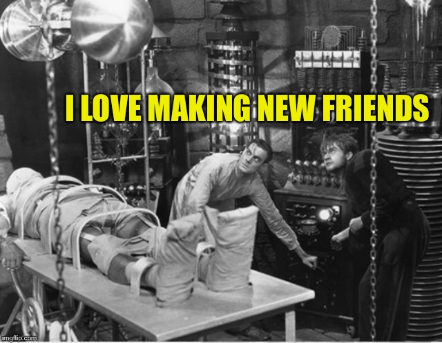 Can't we all just get along on imgflip? (And the world at large) | I LOVE MAKING NEW FRIENDS | image tagged in dr frankenstein,frankenstein,friends,imgflip users,imgflip | made w/ Imgflip meme maker