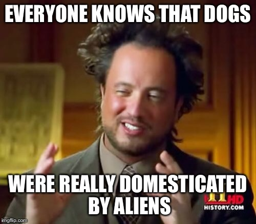 Dogs | EVERYONE KNOWS THAT DOGS WERE REALLY DOMESTICATED BY ALIENS | image tagged in memes,ancient aliens,dogs,domestication | made w/ Imgflip meme maker