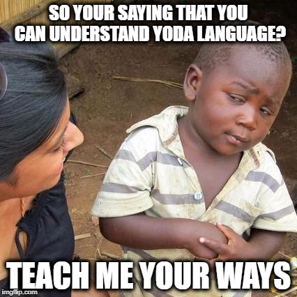 Third World Skeptical Kid Meme | SO YOUR SAYING THAT YOU CAN UNDERSTAND YODA LANGUAGE? TEACH ME YOUR WAYS | image tagged in memes,third world skeptical kid | made w/ Imgflip meme maker